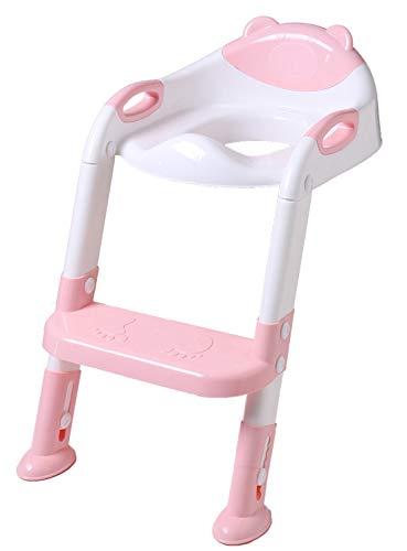 DoubleBlack ToilettensitzFaltbarfürKinderToilettentrainerToilettenleiterWCmitTreppe Rosa