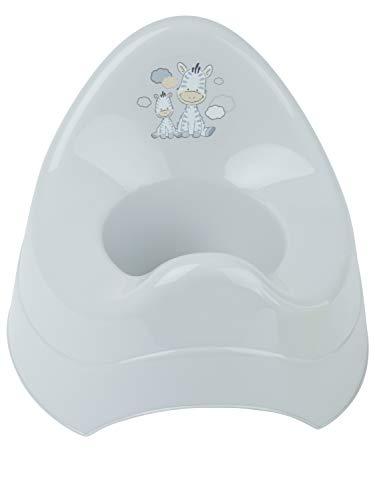Bieco Töpfchen für Kinder mit Musik grau mit Zebra Motiv| Ab 8 Monate WC/Klo Kinder-Toilette | Potty | Kindertopf | Lerntöpfchen | Klositz Kinder