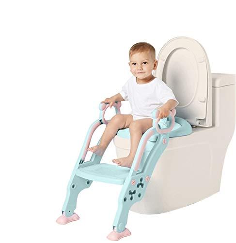 Töpfchentrainer Kinder-WC für Kinder mit Rutschfest Treppe/Leiter-WC Sitz für Kinder Töpfchentraining, Klappbar und Höhenverstellbar.