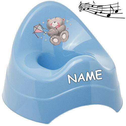 alles-meine.de GmbH Musik & Sound - Töpfchen / Nachttopf / Babytopf - blau _ Tiere - Teddybär - Teddy _ inkl. Name - Bieco - Melody - mit großer Lehne + Spritzschutz - Babytöpfch..