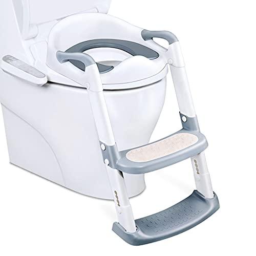 Kinder Toilettentrainer mit Treppe, Scothen Kinder Toilettentrainer Faltbar Leiter Toilettentrainer Lerntöpfchen mit Treppe Baby Wc-Sitz für 38-42cmToilettenHöhe, 1-7 Jahren (Grau)