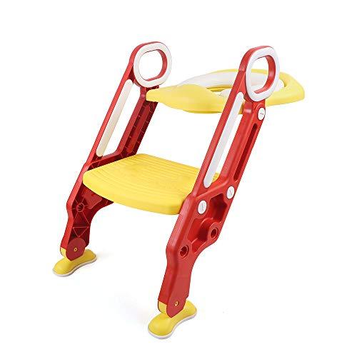 RANZIX 3 in 1 Töpfchentrainer Toilettensitz für Kinder Toilettentrainer Lerntöpfchen mit Treppe Armlehnen PU Gepolstert Rutschfest Höhenverstellbar (Rot Gelb)