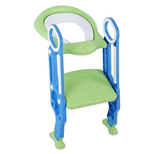 Ejoyous Kinder Toilettensitz mit Treppe, Töpfchentrainer Töpfchen Toiletten-Trainer Töpfchen Kinder-Toilettensitz mit Leiter Töpfchen Sitz für Jungen und Mädchen(Blau)