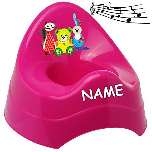 alles-meine.de GmbH Musik & Sound - Töpfchen / Nachttopf / Babytopf - pink - rosa _ Tiere - Teddy - Katze - Hase _ inkl. Name - Bieco - Melody - mit großer Lehne + Spritzschutz -..
