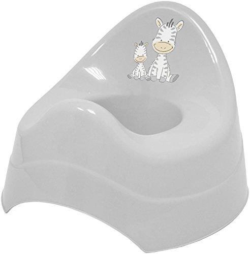 Bieco Töpfchen für Kinder mit Musik grau, mit Zebra Motiv, Ab 8 Monate WC/Klo Kinder-Toilette, Potty, Kindertopf, Lerntöpfchen, , Klositz Kinder