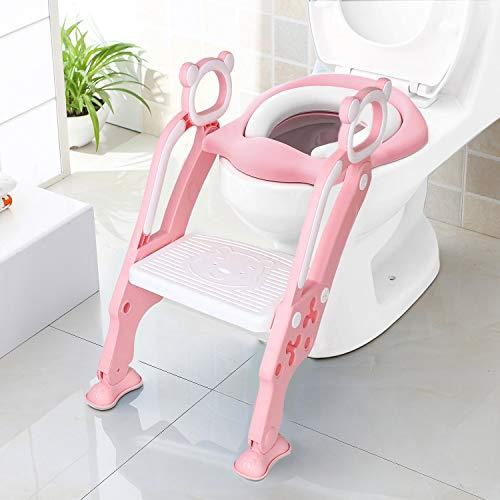 Keplin Toilettensitz für Kleinkinder, mit stabilem rutschfestem breiten Trittbrett und weichem Kissen