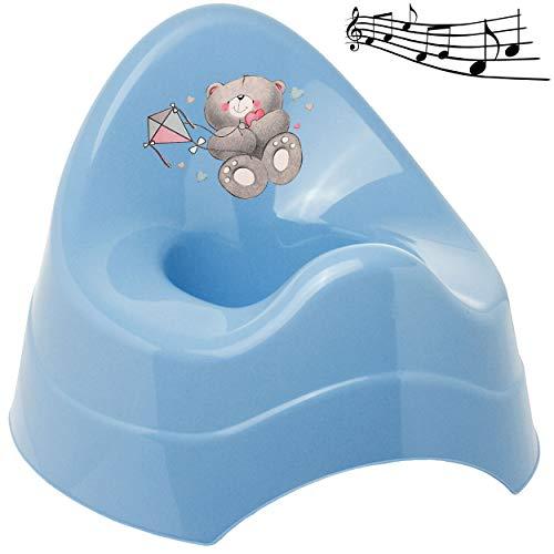 alles-meine.de GmbH Musik & Sound - Töpfchen / Nachttopf / Babytopf - blau _ Tiere - Teddybär - Teddy _ Bieco - Melody - mit großer Lehne + Spritzschutz - Babytöpfchen / Kinderto..