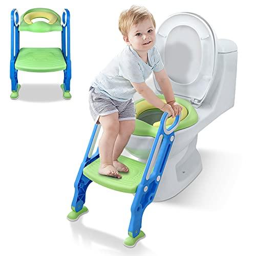 GUANGWEI Toilettentrainer mit Treppe und Armlehnen,PU Gepolstert Töpfchentrainer,Leiter-WC,Toilettensitz,Lerntöpfchen Sitz,Höhenverstellbar,Rutschfest,für 1-7 jährige Kinder(Blau+Grün)