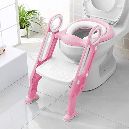 Bamny toilettensitz kinder toilettentrainer mit treppe kinder kloaufsatz Töpfchen Sitz klappbar höhenverstellbar für Toiletten mit einer Höhe von 38-42 cm für Kinder von 1-7 Jahren Rosa