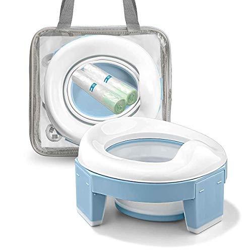 Toilettensitz kinder,Töpfchen Training Sitze,Reisetöpfchen, Töpfchen Unterwegs Potty Training Seat Baby Faltbare Tragbar, doppeltem Anti-Rutsch-Design mit Einweg Töpfchen einlagen