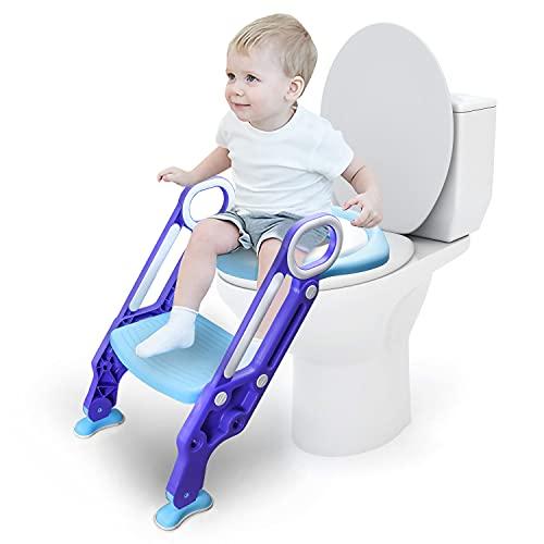 EINFEBEN Toilettentrainer mit Treppe für Kinder Lerntöpfchen Toilettensitz Rutschfest Rutschfest stabil klappbar und höhenverstellbar für 1-7 jährige Justierbarer