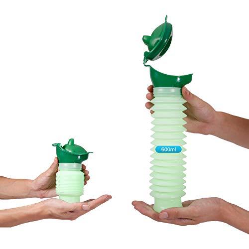 Lunata 600ml Universal Mini Urinal für Mann, Frau & Kind, Mobiltoilette, Personal Toilet, Notfall Reisetoilette, Notfall WC, biegsame Urinflasche, Farbe: Grün