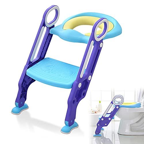 LZQ Toilettensitz Kinder mit treppe für 1-7 jährige, Töpfchentrainer mit PU Kissen und Griffen, Toiletten-Trainer, Kinder-Töpfchen mit Leiter rutschfest Klappbar Höhenverstellbar - Blau