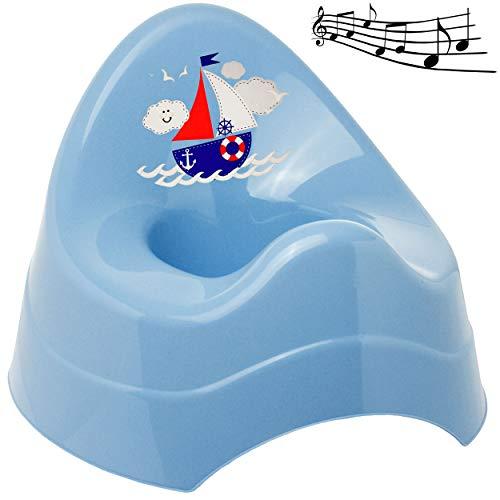 alles-meine.de GmbH Musik & Sound - Töpfchen / Nachttopf / Babytopf - blau _ Schiff - Boot _ Bieco - Melody - mit großer Lehne + Spritzschutz - Babytöpfchen / Kindertopf / Lerntö..