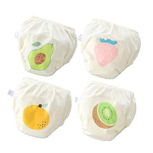 Morbuy 4er Pack Baby Lernwindel Trainerhosen Unterwäsche Windeln Windelhose zum Toilettentraining Töpfchentraining Kleinkind Töpfchen Klingelhose Waschbare Lernwinde (L: 100,E)