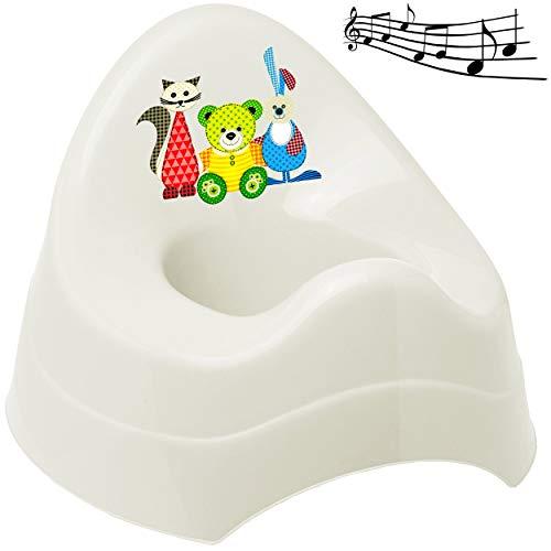 alles-meine.de GmbH Musik & Sound - Töpfchen / Nachttopf / Babytopf - weiß _ Tiere - Teddy - Katze - Hase _ Bieco - Melody - mit großer Lehne + Spritzschutz - Babytöpfchen / Kind..