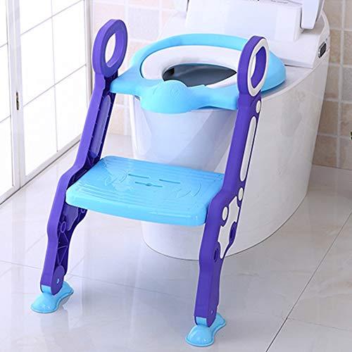 Trintion Töpfchentrainer mit Treppe höhenverstellbar Kinder Toilettensitz Trainer klappbar Töpfchen Toiletten Training von 1 bis 6 Jahre, Blau