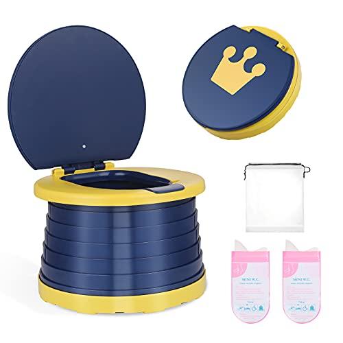 Lictin Töpfchen für Kinder Babytöpfchen Kindertoilette, Toilettentrainer für Jungen und Mädchen,Klapptöpfchen für Kinder Reisen mit Reinigungsbeutel für Den Außenbereich