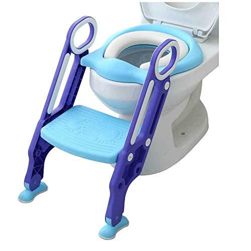 RANZIX 3 in 1 Töpfchentrainer Toilettensitz für Kinder Toilettentrainer Lerntöpfchen mit Treppe Armlehnen PU Gepolstert Rutschfest Höhenverstellbar (Blau Lila)