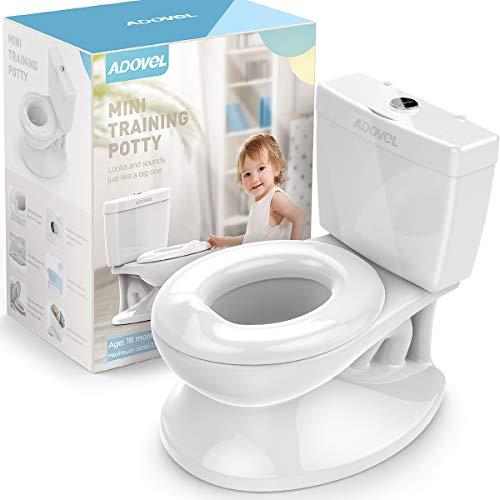 ADOVEL Töpfchen für Kinder und Toilettentrainer mit Spülgeräusch, Realistisches Kindertoilette Baby Toilettensitz, 18 Monate+, Weiß
