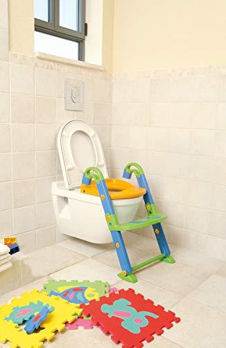 Rotho Babydesign KidsKit 3-in-1 Toilettentrainer, Ab 18-36 Monate, Aufbau-Maße zusammengeklappt: 41,5 x 25 x 67 cm (LxBxH), Grün/Blau/Orange, 600060099
