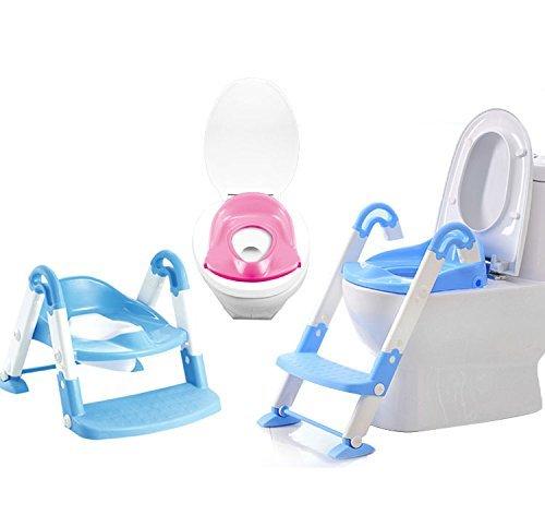 DoubleBlack Toilettensitz/Faltbar/f/ür/Kinder/Toilettentrainer/Toilettenleiter/WC/mit/Treppe Blau
