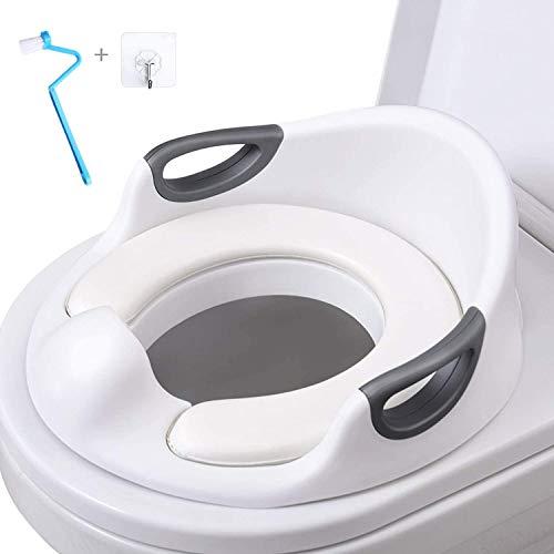 AiKiddo Töpfchentrainer Kinder   Kinder Toiletten   Toilettensitz Baby   Sitz Toilette Töpfchen Training für Kinder von 1-7 Jahren (Weiß)