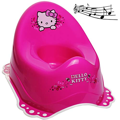 alles-meine.de GmbH Musik & Sound - Anti RUTSCH - Töpfchen / Nachttopf / Babytopf - pink - rosa _ Hello Kitty - Katze _ Bieco - Melody - mit großer Lehne + Spritzschutz - rutschf..