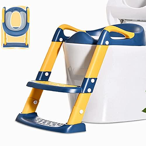 Töpfchentrainer Kinder, Töpfchen Toilettensitz Trainer Sitz für Kinder Toiletten Training mit Treppe Armlehnen PU Gepolstert, Rutschfest