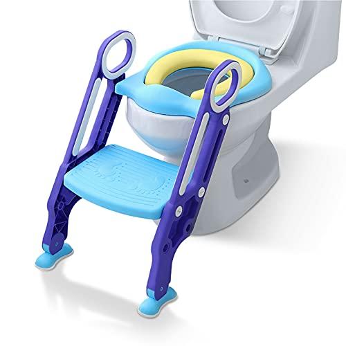 NAIZY Toilettensitz Kinder mit Treppe Faltbar Töpfchentrainer Höhenverstellbar WC Trainer mit PU Gepolstert Kissen und Griffen Töpfchen für Kinder von 1-7 Jahren Kleinkinder - Blau und Lila