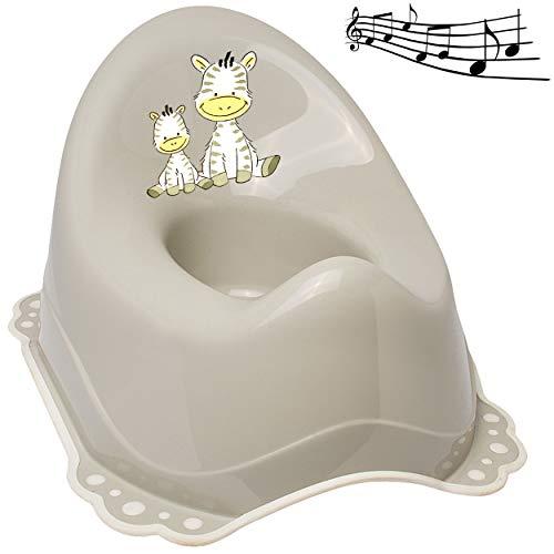 alles-meine.de GmbH Musik & Sound - Anti RUTSCH - Töpfchen / Nachttopf / Babytopf - hell grau _ Tiere - Zebra _ Bieco - Melody - mit großer Lehne + Spritzschutz - rutschfest Anti..
