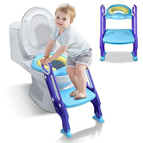 GUANGWEI Toilettentrainer mit Treppe und Armlehnen,PU Gepolstert Töpfchentrainer,Leiter-WC,Toilettensitz,Lerntöpfchen Sitz,Höhenverstellbar,Rutschfest,für 1-7 jährige Kinder(Blau+Lila)