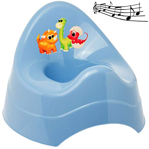 alles-meine.de GmbH Musik & Sound - Töpfchen / Nachttopf / Babytopf - blau _ Tiere - Dinosaurier - Dino _ Bieco - Melody - mit großer Lehne + Spritzschutz - Babytöpfchen / Kinder..