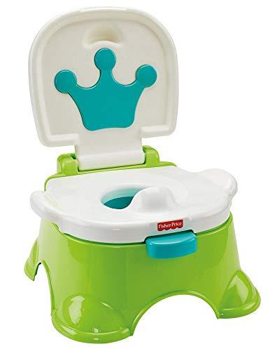 Fisher-Price DLT00 - Lerntöpfchen Toilettentrainer mit Fußbank mitwachsendes Töpfchen grün inkl. Toilettensitz für Kleinkinder