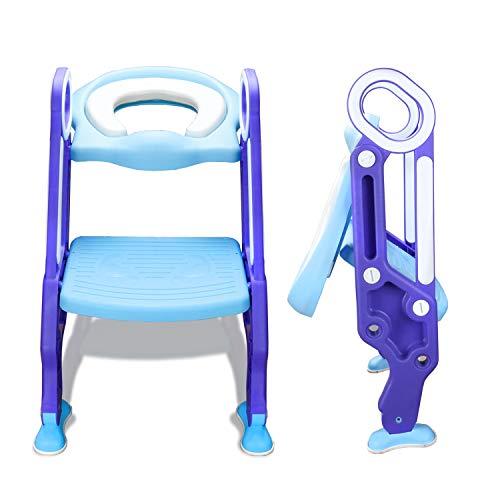 wolketon Toilettentrainer mit Treppe Justierbarer für Kinder Lerntöpfchen Toilettensitz Rutschfest Rutschfest stabil klappbar und höhenverstellbar für 1-7 jährige