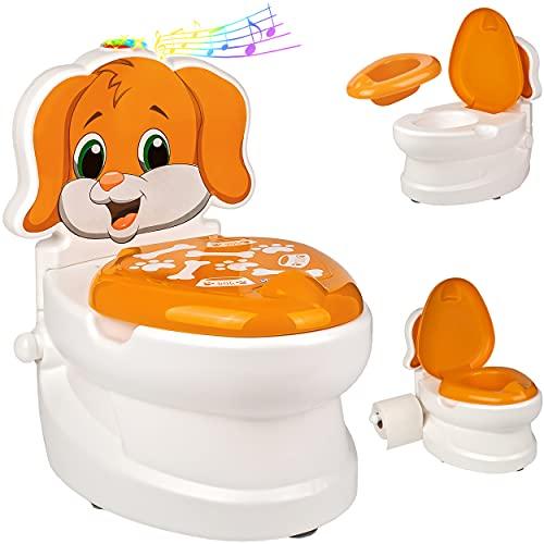 alles-meine.de GmbH Kindertoilette _ Spülgeräusch + Licht Effekt - Wasserspülung _ Modell wählbar _ Töpfchen / Nachttopf / Babytopf - mit Deckel - weiß - Musik - Toilettentrainer..