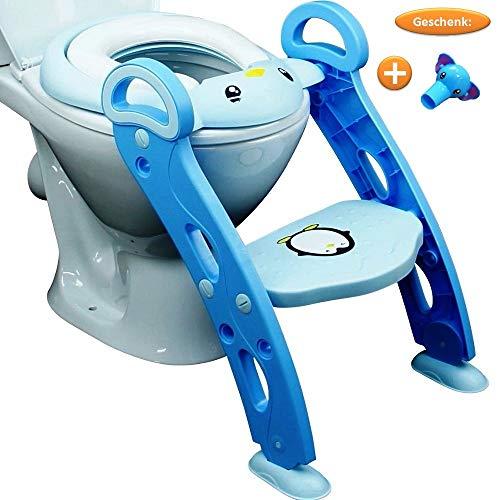 Toilettenaufsatz Kinder Blau u. Rosa; WC Leiter für Kinder; Toilettensitz Kinder Treppe, STABIL und höhenverstellbar (35-44cm); Toilettentreppe für Kleinkinder; Töpfchen - GESCHENK