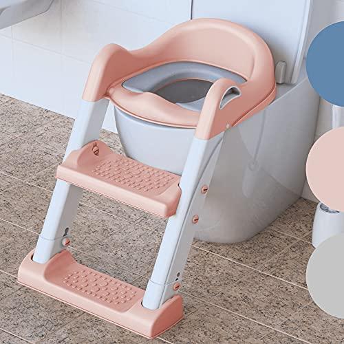Premium Toilettensitz Kinder mit Treppe von BEARTOP   rutschfest   Kindertoilette Toilettentrainer mit Treppe   2021 stabileres & moderneres Design   bis zu 75kg   Zufriedenheitsgarantie (3 Jahre)*