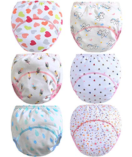 Ceguimos 6er Pack Baby Mädchen Lernwindel Trainerhosen Unterwäsche zum Sauberwerden, Gr. 98 (Herstellergröße 100)