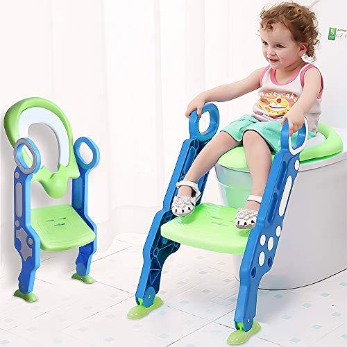 SaponinTree Toilettentensitz kinder, klappbar Töpfchentrainer Kinder-Töpfchen Sitz für Kinder Toiletten Training mit Leiter und Griffe, Justierbarer Töpfchen-Sitz mit Schritt, für Kleinkinde