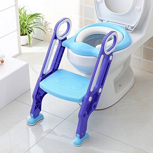 Bamny toilettensitz kinder toilettentrainer mit treppe kinder kloaufsatz Töpfchen Sitz klappbar höhenverstellbar für Toiletten mit einer Höhe von 38-42 cm, für Kinder von 1-7 Jahren