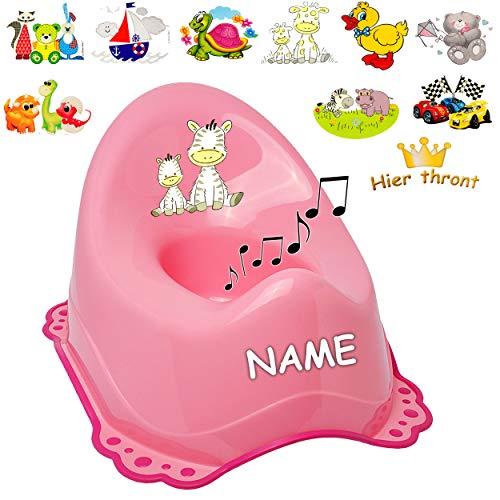 alles-meine.de GmbH Musik & Sound - Anti RUTSCH - Töpfchen / Nachttopf / Babytopf - rosa - pink _ Motiv-Mix - Mädchen _ inkl. Name - Bieco - Melody - mit großer Lehne + Spritzsch..